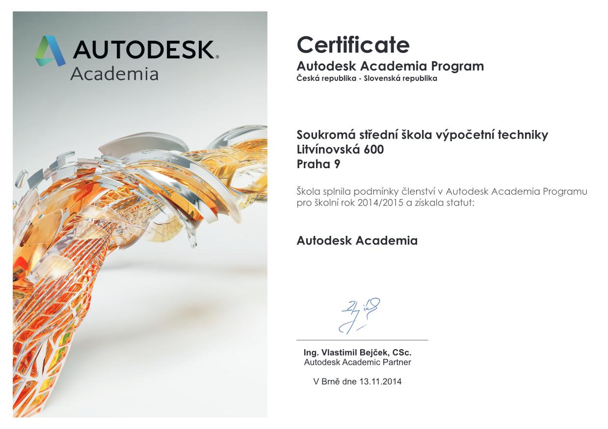 Cerftifikát programu Autodesk Academia